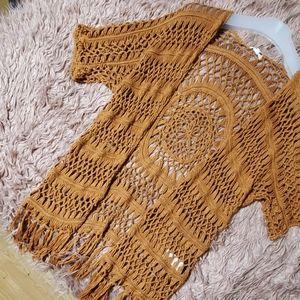 Crochet Macrame Rust Burnt Orange fringe duster